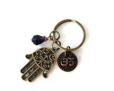 Hamsa Keychain Purple Bag Charm Hand of by BohemianEarthDesigns