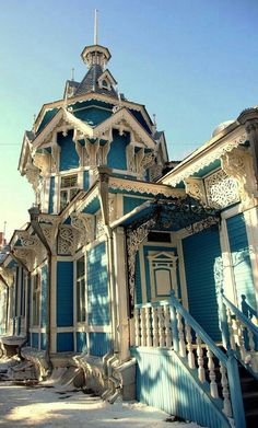 Victorian Home - Tomsk, Russia. One of the oldest towns in Siberia. Architecture Design, Russian Architecture, Victorian Architecture, Beautiful Architecture, Beautiful Buildings, Beautiful Homes, Beautiful Places, Wooden Architecture, Futuristic Architecture
