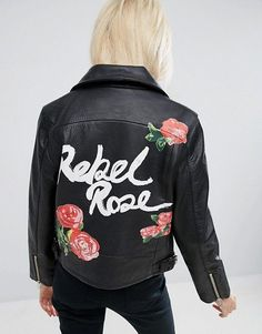 What a great vintage style leather perfecto jacket with Rebel Rose paintings details at the back