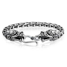 Bling-Jewelry-Mens-Sterling-Silver-Antique-Style-Bali-Style-Dragon-Bracelet