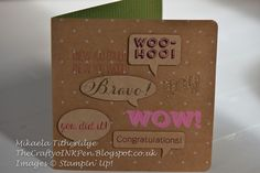 Stampin' Up! ... handcrafted congratulations card from The Crafty oINK Pen ... kraft ... fun shaped die cut talk balloons ... big pink stamped WOW!