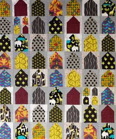 sewsmartfabrics:    Little house quilt. Cute scrappy houses!