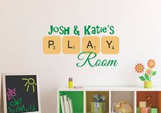 Scrabble Playroom Vinyl Decal - Personalized Vinyl Wall Decal - Monogrammed Vinyl Lettering - Playroom Decor- Scrabble Tiles via Etsy