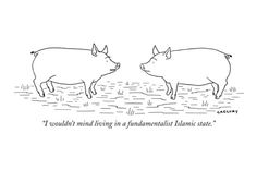 """""""I wouldn't mind living in a fundamentalist Islamic state."""" - New Yorker Cartoon Poster Print by Alex Gregory at the Condé Nast Collection Really Funny Pictures, Funny Pics, Funny Stuff, Alex Gregory, Studying Funny, Cute Jokes, Cartoon Posters, New Yorker Cartoons, Funny Tee Shirts"""