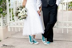 """These """"sole mates"""" kept with the tradition of """"something blue"""" #converse #shoes #solemates #somethingblue #wedding"""