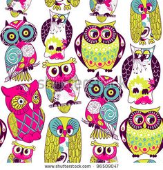 stock vector : Seamless and colourful owl pattern.
