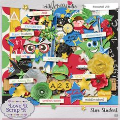 Star Student digital scrapbooking kit from Love It Scrap it Designs. Now that school is in session the days are filled with buses, field trips, and backpacks of homework. The best part of homework is the gold star or the smiley face that means you did a good job. Filled with primary colors Star Student is all about the great students in your life. These colorful elements are going to make your layouts pop!