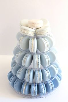 Beautiful blue macaron tower in ombré tones. Ideal for a boy baby shower or birthday. More