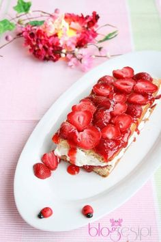 Yummy and beautifully decorated Strawberries and Eggless Pound Cake.