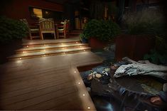 Backyard Lighting, Spotlights, Garden Bridge, Spa, Pergola, Deck, Stairs, Outdoor Structures, Outdoor Decor