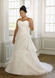 A-line Sweetheart Organza Wedding Dresses With Applique/Beading