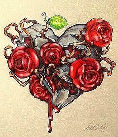 Heart Rose Tattoo Designs