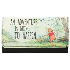 Disney Winnie The Pooh Adventure Flap Wallet | Hot Topic (365 UAH) ❤ liked on Polyvore featuring bags, wallets, green bags, disney wallet, flap wallet, green wallet and disney bag