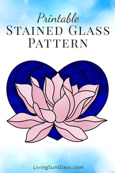 Lotus in Heart – Living Sun Glass – Stained Glass Patterns & Supplies Stained Glass Paint, Making Stained Glass, Stained Glass Flowers, Stained Glass Designs, Stained Glass Patterns, Mosaic Patterns, Lotus Flower Art, Tiffany, Tile Crafts