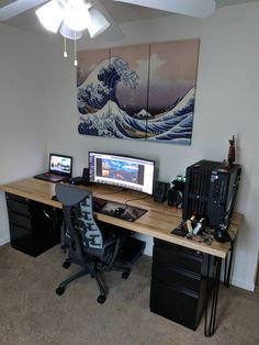 What a clean setup! That chair is probably worth more than my whole setup combined. By: Check out the link in my bio! Tag a friend who might like this page! DM me your setup to be featured! Computer Desk Setup, Gaming Room Setup, Pc Desk, Pc Setup, Pc Computer, Computer Workstation, Home Office Setup, Home Office Space, Home Office Desks