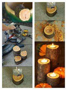 Odun parçalarından mumluk | BenYapıyorum