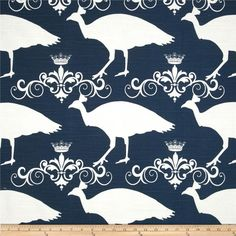 Screen printed on cotton slub duck (slub cloth has a linen appearance); this versatile medium weight fabric is perfect for window accents (draperies, valances, curtains and swags), accent pillows, duvet covers, upholstery and other home decor accents. Create handbags, tote bags, aprons and more. *Use cold water and mild detergent (Woolite). Drying is NOT recommended - Air Dry Only - Do not Dry Clean. Colors include white and navy.