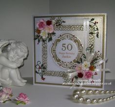 50th Birthday Card, this one a bit more festive using Creative Expressions / Sue Wilson Dies - Nobel pierced Squares and Circles Hamilton  New York Times square Delicate Fronds also using a Cheery Lynn Flourish.