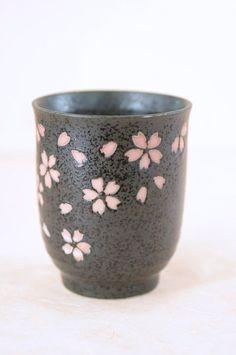 Vintage Ceramic Tea Cup Japanese Cherry Blossom Sakura Motif