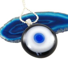 fused glass pendant concentric circles by bluedaisyglass on Etsy, £12.00