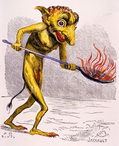 The demon Ukobach, who stokes the flames of Hell. From Collin de Plancy, 'Dictionnaire Infernal' [1863].