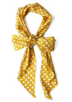 Bow to Stern Scarf in Mustard Dots - Casual, Yellow, White, Polka Dots