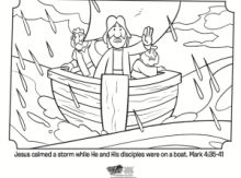 Kids coloring page from Whats in the Bible showing Jesus calming