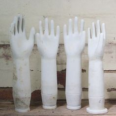 Vintage Industrial Porcelain Glove Moulds by Mulbury on Etsy Craft Stall Display, Craft Show Displays, Vintage Chairs, Vintage Rugs, Retro Clock, Vintage Enamelware, Handmade Market, Wedding Frames, How To Antique Wood