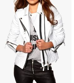 #WomenBiker Quilted White Sheep #FauxLeatherJacket High Quality #LeatherJacket made in #distressleather inspired from #caferacer leather jacket crafted by #thejasperz contains following features #womencollection #womencostume #womensjacket whiteleatherjacket