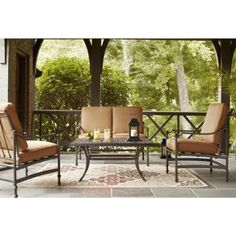 Hampton Bay Niles Park Patio Lounge Chair with Cashew Cushions (2-Pack)-S2-AHH01500 - The Home Depot