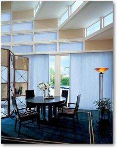 Hunter Douglas Duette® honeycomb shades, whose construction mimics the inside of a honeycomb, have especially high sound absorption ratings with several fabric styles absorbing 55 and 60 percent of reflected sound. Duette shades in Phenomena fabric with three layers of honeycomb pleats absorb an impressive 65 percent of reflected sound.