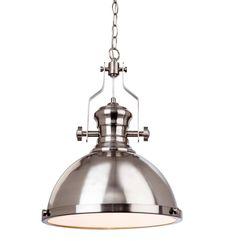 Firstlight 'Albion' 1 Light Ceiling Pendant Light, Brushed Steel  Finish - 5909BS None