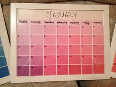 Kimber's Great Adventure: 12 Days of Christmas: Day Five: Paint Sample Calendars – Home Office Design Diy Paint Sample Calendar, Paint Sample Art, Dry Erase Calendar, Diy Calendar, Paint Samples, Frame Calendar, Calendar Board, Diy Craft Projects, Fun Crafts