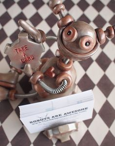 Robot Business Card Holder by RobotsAreAwesome, $60.00