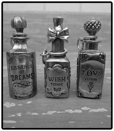 "Halloween Apothecary Potions ""Essence Of Dreams, Wish Tonic, & Love Elixir"" Potion Bottle, Bottle Art, Bottle Charms, Bottle Necklace, Necklace Charm, Photographie Post Mortem, Bottles And Jars, Perfume Bottles, Magic Bottles"