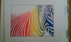 Multi coloured zebra stencil.