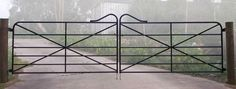A range of heritage style farm gates with horizontal bars. Various designs including heritage cast jointed gates and wrought iron gates. Farm Gate, Farm Fence, Fence Gate, Fencing, Horse Fence, Farm Entrance, Driveway Entrance, Entrance Ideas, House Entrance