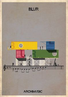 Classic songs illustrated as buildings – Song 2 by Blur | Illustrator/Architect:  Frederico Babina
