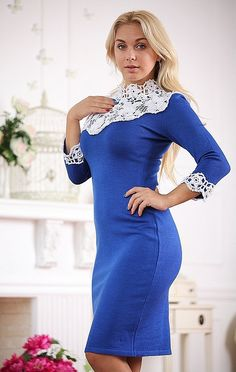 Knitted dress Syrena with a cornflower blue