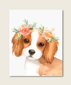 Dog with Flower Crown Art Dog Lover Decor Cocker Spaniel Animals Watercolor, Watercolor Cat, Animal Paintings, Animal Drawings, Art Drawings, Art And Illustration, Watercolor Illustration, Illustrations, Crown Painting