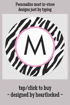 Shop Zebra Print Monogrammed Stickers created by heartlocked. Monogram Stickers, Custom Stickers, Personalized Stationery, Office Gifts, Diy Face Mask, Pattern Print, Store Design, Zebra Print, Pink And Green