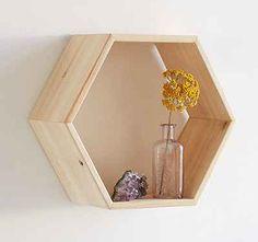 pared madera estante estante geométrica por WoodenStuff3Snails