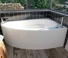The Wind Corner Soaking Tub from Neptune is a favorite among small bathroom dwellers. Bathroom Faucets, Corner Soaking Tub, Corner Bathtub, Amazing Bathrooms, Refinish Bathtub, Bathroom Shower, Bathroom Decor, Bathtub, Small Bathroom Remodel