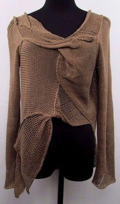 Design B by Zuza Bart 100% Linen Sweater; S; Lagenlook Art to Wear  #DesignBbyZuzaBart #Pullover