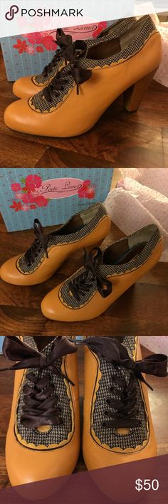 Poetic Licence Backlash from Anthropologie Oxford-style heel in a golden yellow leather with brown houndstooth accents and satin laces. Never worn, NIB. Poetic Licence Shoes Heels