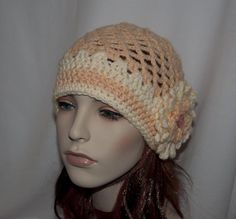 My most favorite hat. Peach and Beige open work beanie for young women. Really cute