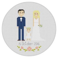his listing is for a Completed Custom Family Cross Stitch Would you love to commemorate your wedding day in stitches? Or maybe you are looking for a unique gift? If so, this is a listing for you! I can customise the design to exactly you would like included.  This is a Perfect 3rd Anniversary Gift!  Have a question? Great! A unique idea? Maybe you want to add Palm Trees, Snowflakes, Trees, A Surf Board or something else? Even better! -- Just send me a email or start a conversation!   ****W H…