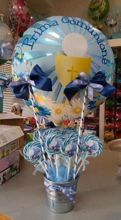 mongolfiera centrotavola con vaso latta con lollipop personalizzati per comunione