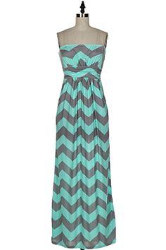 The Texas Cowgirl - Mint Gray Chevron Strapless Maxi Dress,