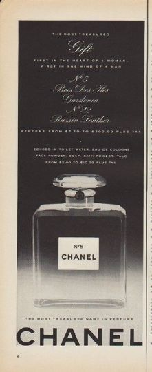 "1952 CHANEL PERFUME vintage print advertisement ""The Most Treasured Gift"" ~ First in the heart of a woman -- first in the mind of a man ... No. 5 Bois Des Iles Gardenia ... No. 22 Russia Leather ... The most treasured name in perfume ~"